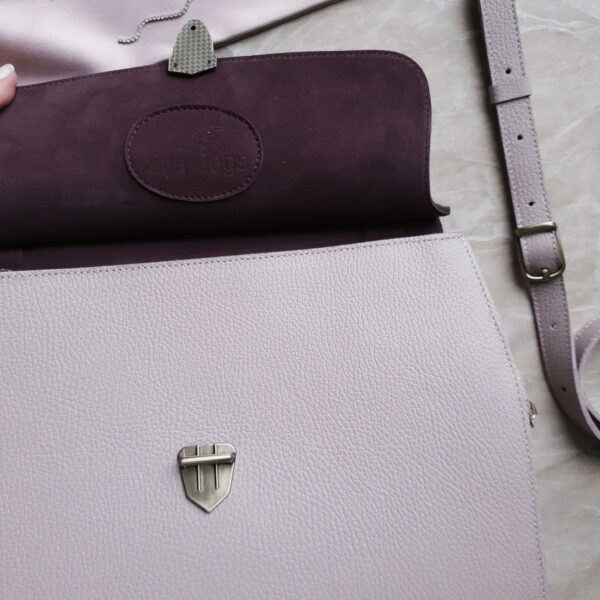 Сумка Mino комби замша пыльный фиолет и кожа светлая лаванда