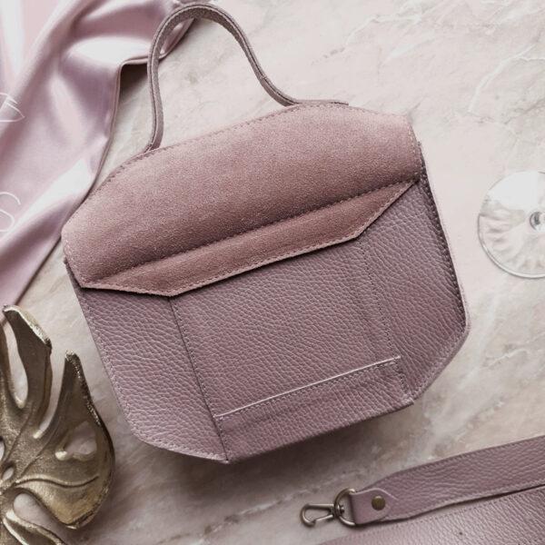 Сумка Diame лавандово-розовая замша и кожа темная лаванда