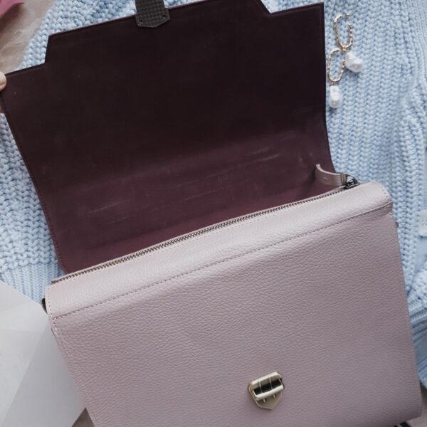 Сумка Liata лавандово-розовая замша и кожа светлая лаванда