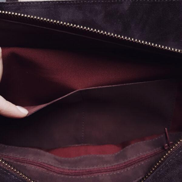 Сумка Ramita черничная замша с кожаными ручками и ремнем