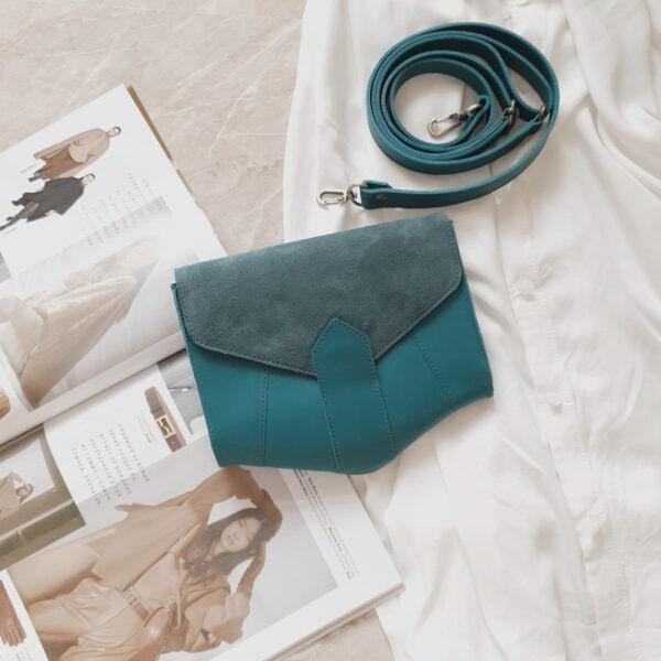 Поясная сумка Frela комби замша приглушенная лазурь и кожа морская волна