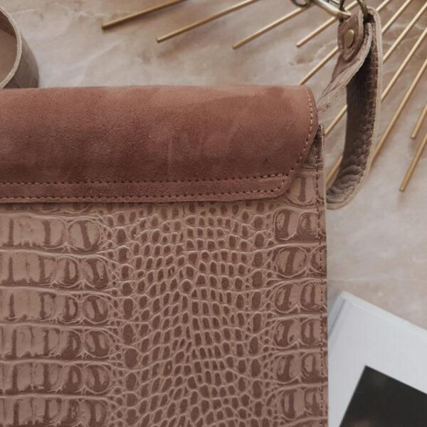 Delany комби коричневая замша и бежево-коричневый крокодил