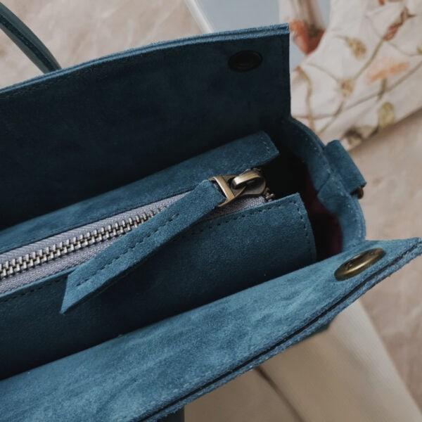 Сумка RamitaMini яркая изумрудная замша с кожаными ручками морская волна
