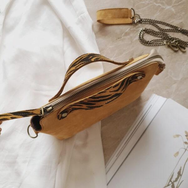 Сумка Navi без воланов нежная желтая замша с ручками яркая зебра