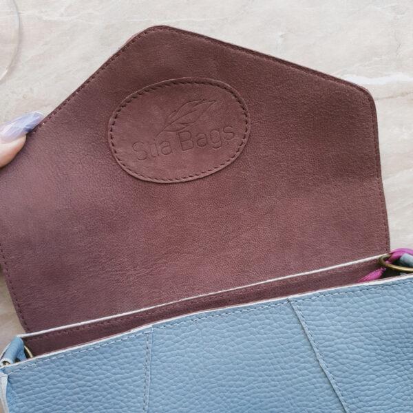Поясная сумка Frela комби нежно-голубая замша и голубая зернистая кожа