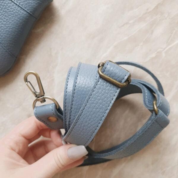 Поясная сумка Frela черничнично-молочная замша и серо-голубая кожа