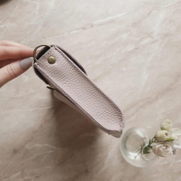 Поясная сумка Frela пудрово-розовая зашма и кожа светлая лаванда