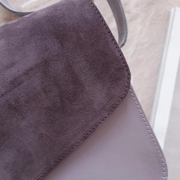 Сумка Delany комби замша пыльный фиолет и гладкая кожа