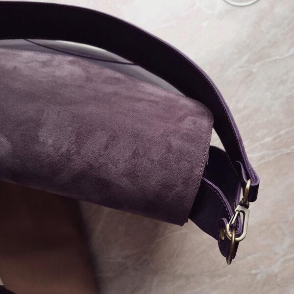 Сумка Delany комби замша пыльный фиолет и гладкая кожа черника